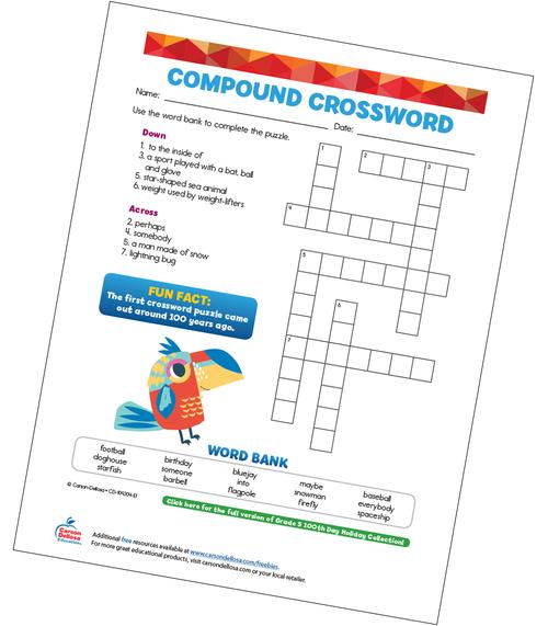 Compound Crossword Free Printable Sample Image