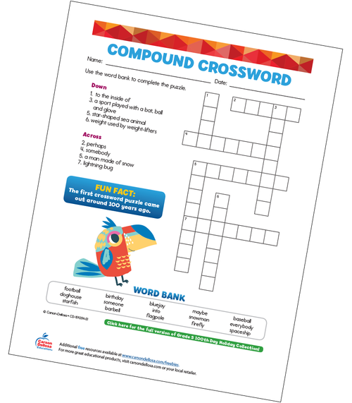 Compound Crossword Free Printable Sample Image