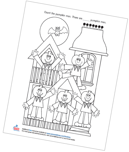Count the Pumpkin Men Free Printable Coloring Page