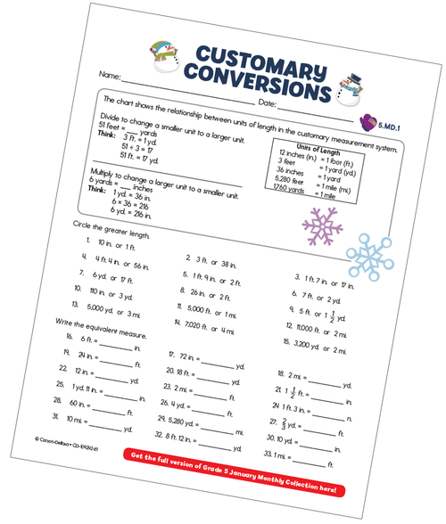 Customary Conversions (Measurement) Free Printable