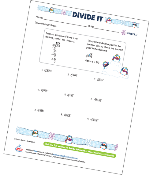 Divide It Free Printable Sample Image
