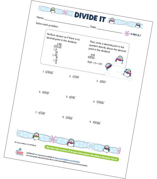 Divide It Free Printable Sample Image