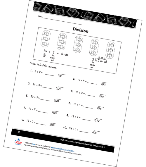 Division Free Printable Sample Image