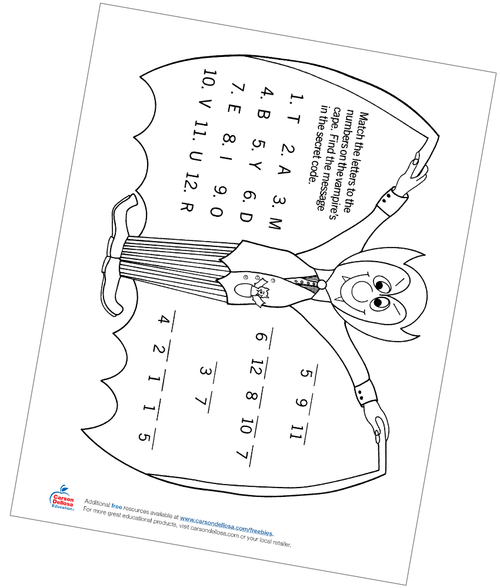 Dracula Secret Code Letter Matching Free Printable Activity
