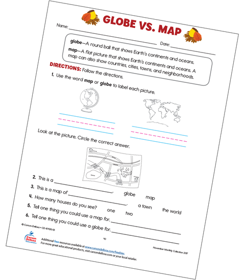 Globe vs. Map Free Printable Sample Image