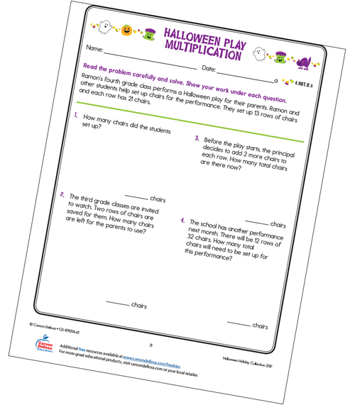 Halloween Play Multiplication Free Printable Worksheet