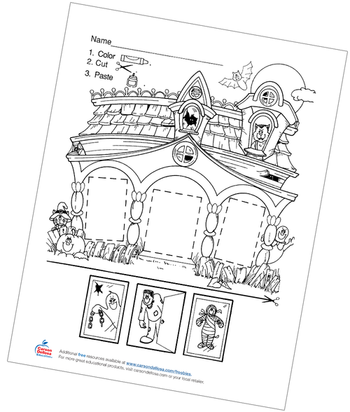 Haunted House Color, Cut, and Paste Free Printable