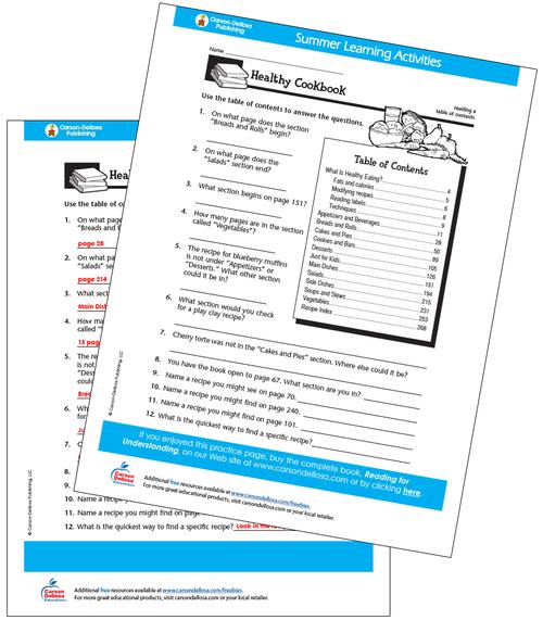 Healthy Cookbook Free Printable Sample Image