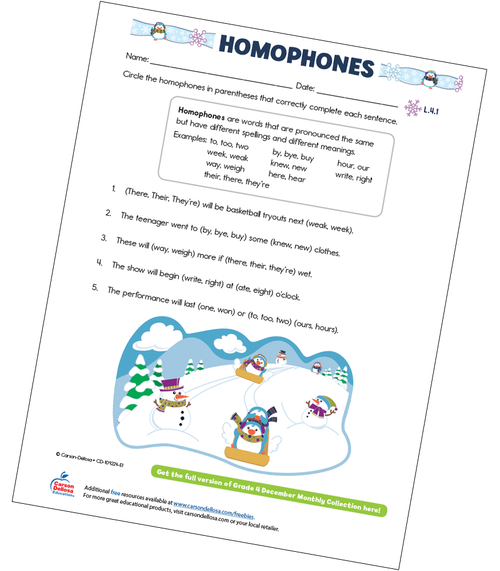 Homophones Free Printable Sample Image