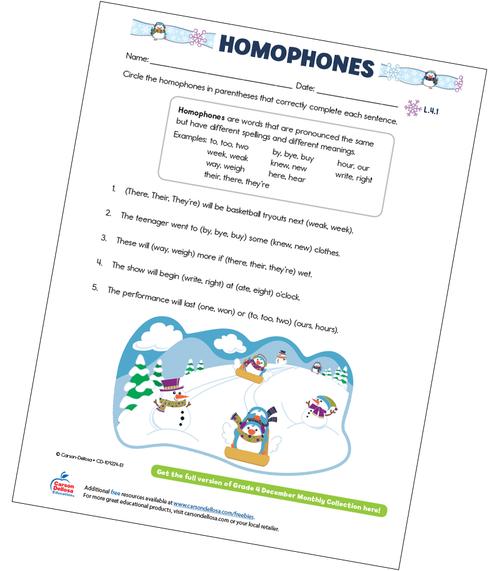 Homophones Free Printable Sample Image