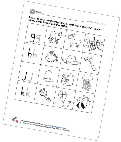 Initial Consonants ghjk Free Printable