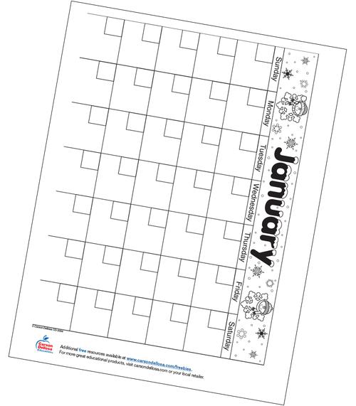 January Calendar Free Printable