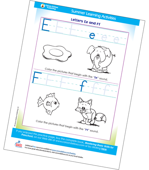 Letters Ee and Ff Free Printable Sample Image
