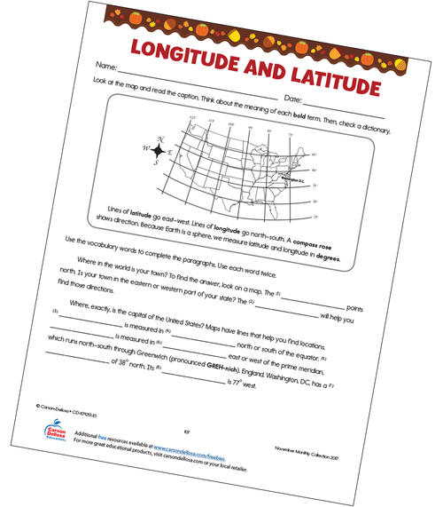 Longitude and Latitude Free Printable Worksheet