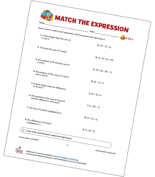 Match the Expression Free Printable Sample Image
