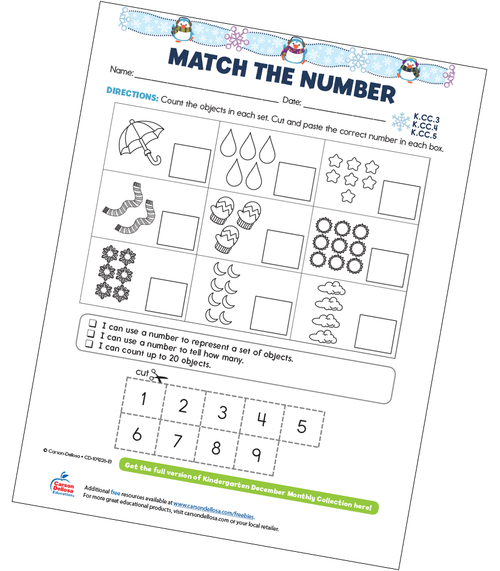 Match The Number Free Printable Sample Image