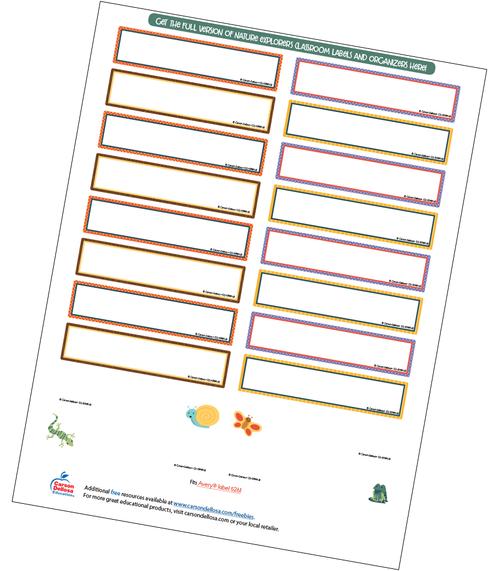 Nature Explorers Editable Labels Free Printable
