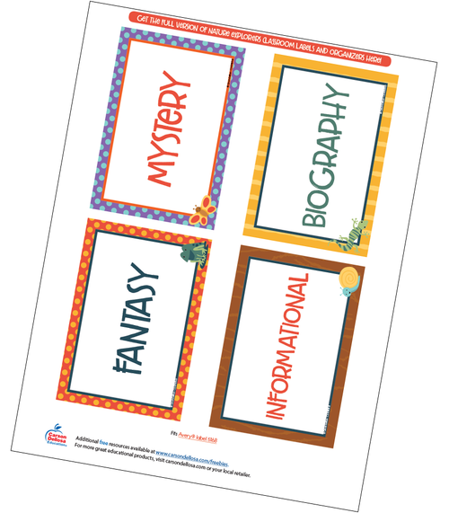 Nature Explorers Library Labels Free Printable