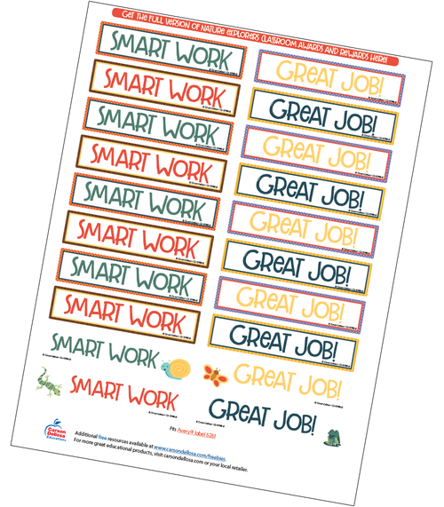 Nature Explorers Motivational Word Stickers Free Printable Sample Image