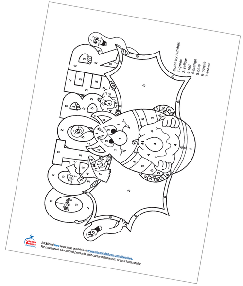 October Color by Number Free Printable Coloring Page