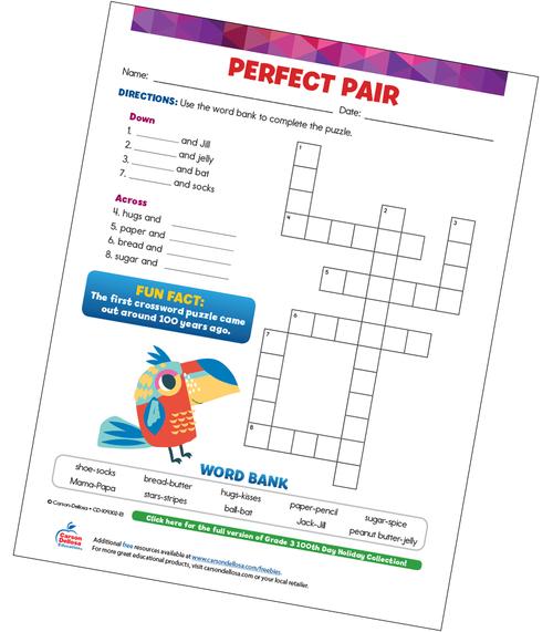 Perfect Pair (Crossword) Free Printable Sample Image