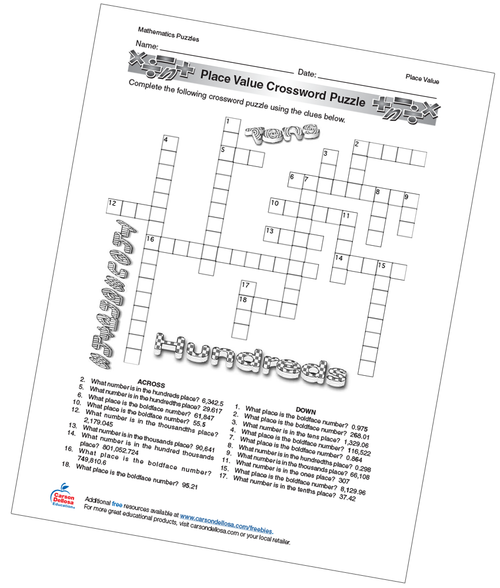 Place Value Crossword Puzzle Free Printable