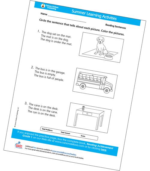 Reading Sentences Free Printable Sample Image