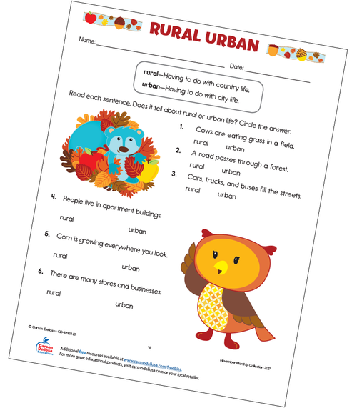 Rural Urban Free Printable Worksheet