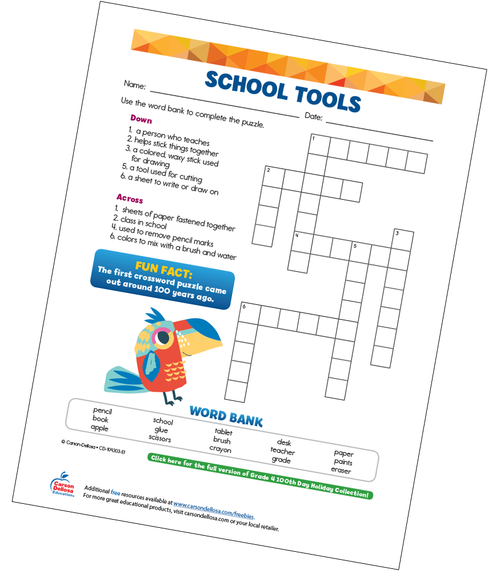 School Tools (Crossword) Free Printable Sample Image