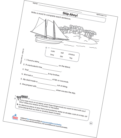 Ship Ahoy! Free Printable Sample Image