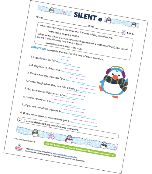 Silent e Free Printable Sample Image