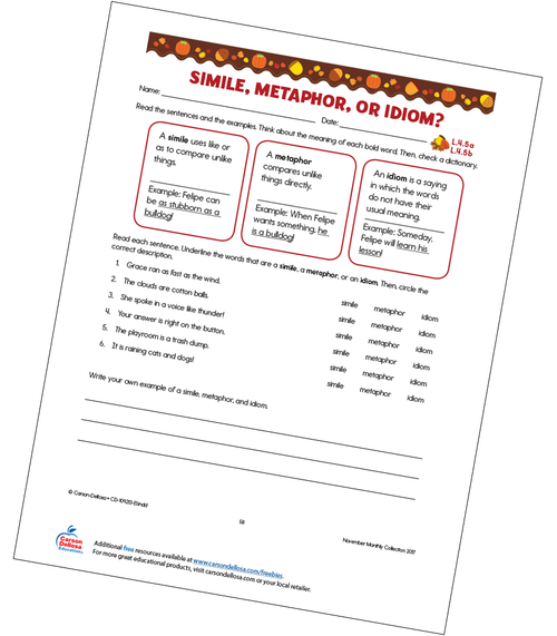 Simile, Metaphor, or Idiom Free Printable Worksheet