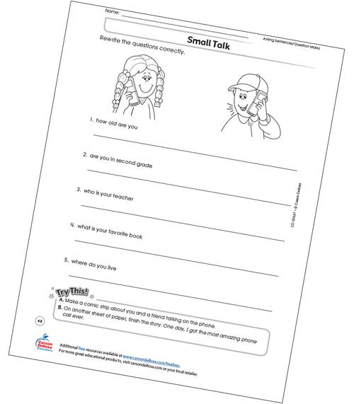 Small Talk Free Printable Sample Image