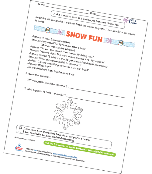 Snow Fun Free Printable Sample Image