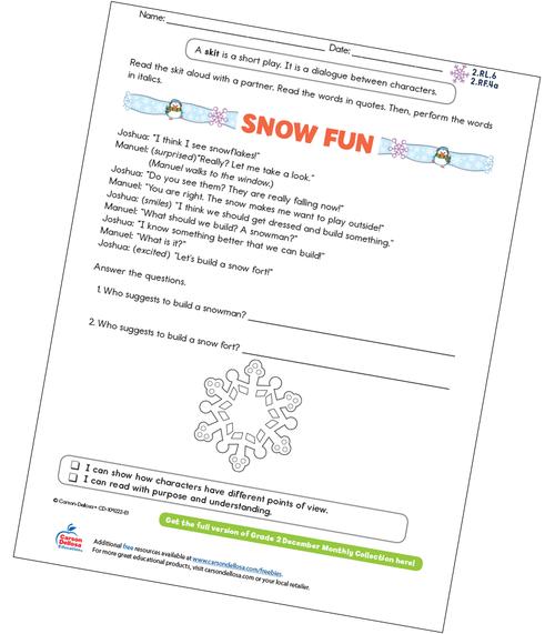 Snow Fun Free Printable Sample Image