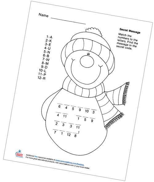 Snowman Secret Message Letter Matching Free Printable Activity
