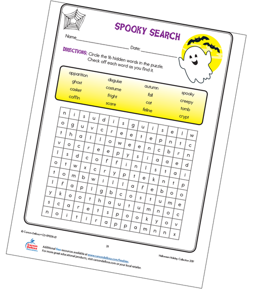 Spooky Search Free Printable Sample Image
