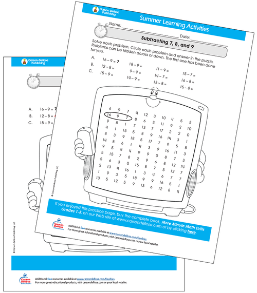 Subtracting 7, 8, and 9 Free Printable Sample Image