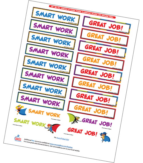 Super Power Motivational Word Stickers Free Printable Sample Image