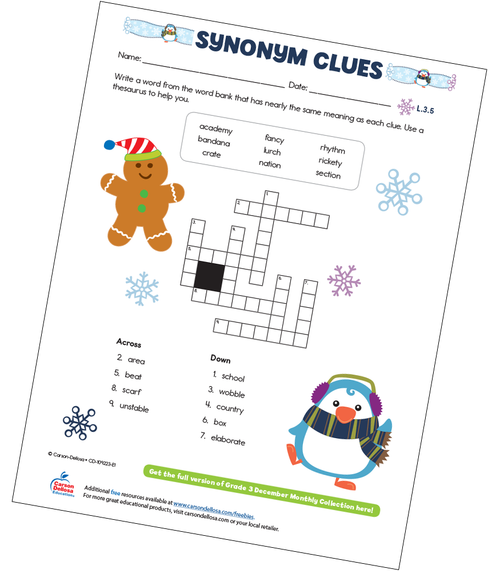 Synonym Clues Free Printable Sample Image