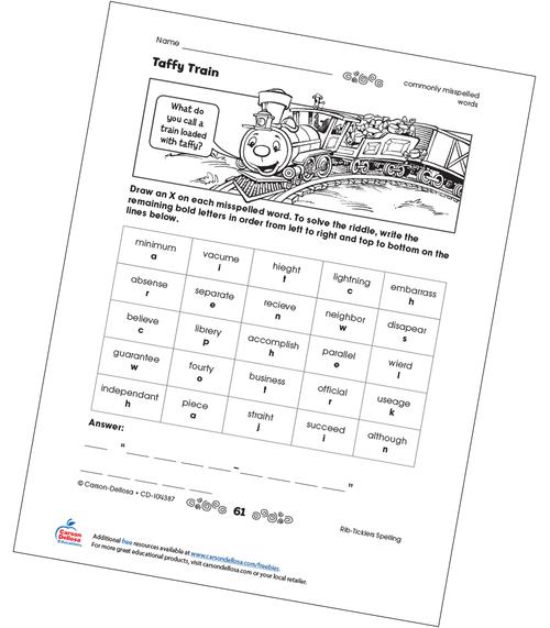 Taffy Train Free Printable Sample Image