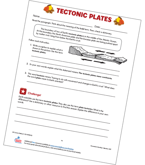 Tectonic Plates Free Printable Worksheet
