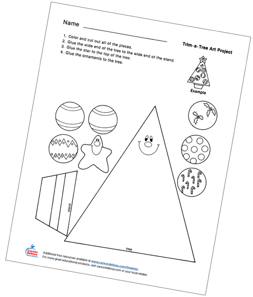 Trim-a-Tree Color, Cut, and Paste Free Printable Activity