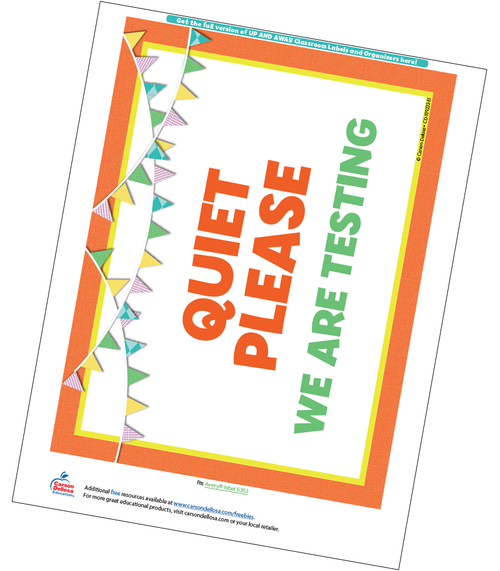 Up and Away Classroom Testing Sign Free Printable Sample Image