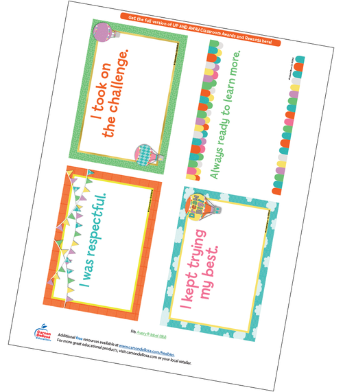 Up and Away Quarter Page Certificate Free Printable Sample Image