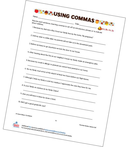 Using Commas Free Printable Worksheet