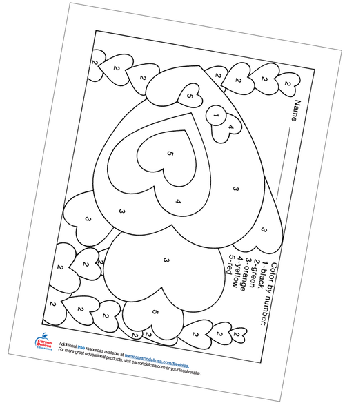 Valentines Color by Number Free Printable
