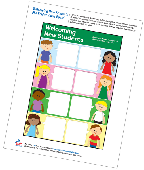 Welcoming New Students File Folder Game Free Printable