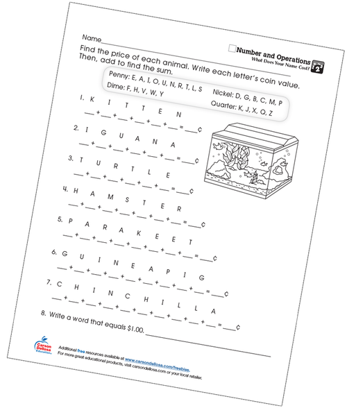 What Does Your Name Cost? Numbers and Operations Free Printable Worksheet