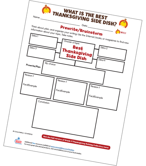 What Is The Best Thanksgiving Side Dish? Free Printable Worksheet